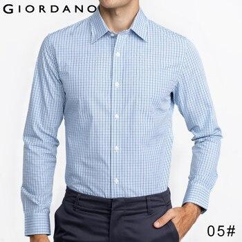 Giordano homens camisa de mangas compridas gola mens clothing escritório famosa marca da maquineta do algodão mistura camisas hombre vetement