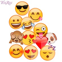 FENGRISE 12pcs Emoji Photo Booth Props Funny Mask Birthday Party Decoration Kids Favors Photobooth Props Wedding Event Supplies