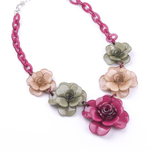 2017 New Collection Fashion Multicolor Resin Four Leaf Clover Flower Necklaces & Pendants For Young Girls Jewelry Gift