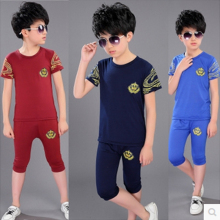 Children's clothing child set boys baby summer set kids clothes primary students short-sleeve t-shirt Early buy early discount
