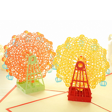 Hot Sale Papercraft Pop-Up 3D Ferris Wheel Valentine Cards May Love Goes Round for Wedding Party Decor Gift 15*15 CM New Arrival
