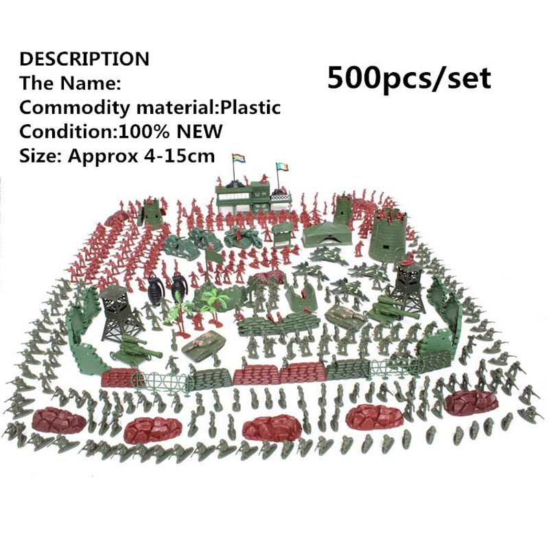 WWII 500pcs/set Army Sand table model soldier suit childrens toys Military Corps Motorcycles, tanks, artillery Gift selection<br>