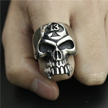 Lucky 13 Biker Ring Stainless Steel Jewelry Spade Skull Ring Band Party Ring(China)