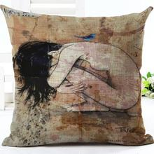 Factory Supply 2016 Latest Design Bathing Girl Printing Linen Throw Pillow Home Bedside Backrest Cushion Wholesale