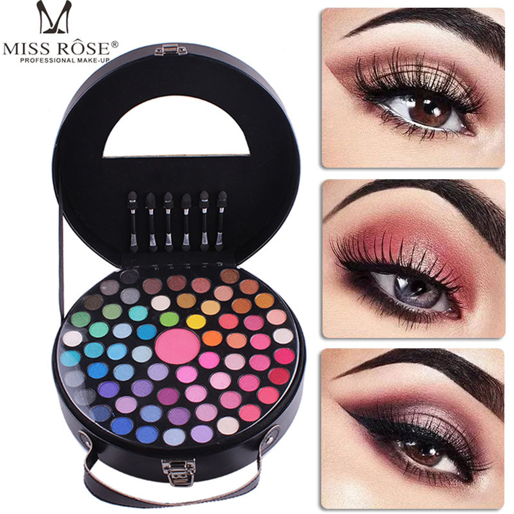 Miss Rose 65 Color Makeup Eyeshadow Palette Round Shape Portable Cosmetic Eye Shadow Blush Collection Makeup Set Kit with Mirror<br>