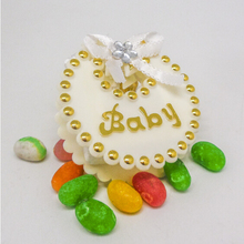 free shipping lovely bowknot cream baby shower gift bags,6cm*6cm,200pcs/lot,LN8-1(China)