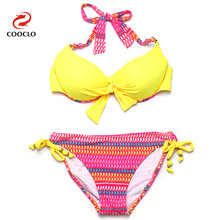 Buy COOCLO 2018 Bandage Bikini Push Swimwear Floral Print Halter Sexy Bikinis Set Swimsuit Women Retro Beach Bathing Suit Biquini