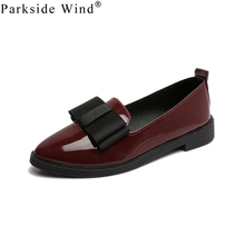 Parkside Wind 2017 Summer Fashion Women Slip-on Flat Shoes Oxford Shoes For Women Normal Size 35-40 PU Trendy Black/Wine Red-5