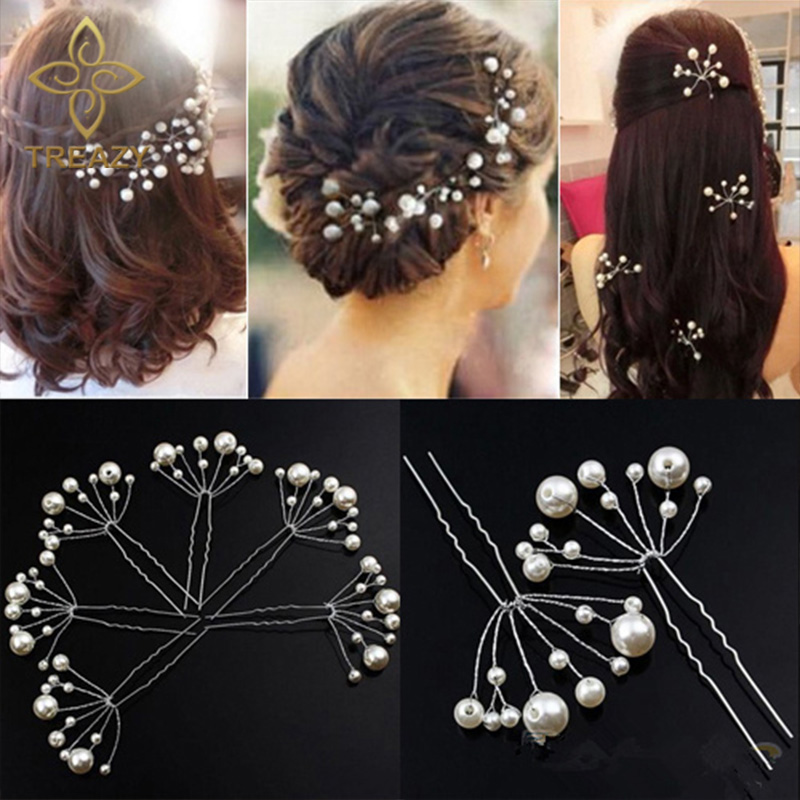 6pcs Silver Crystal Pearl Flower Bridal Bridesmaid Hair Slide Pin Jewery