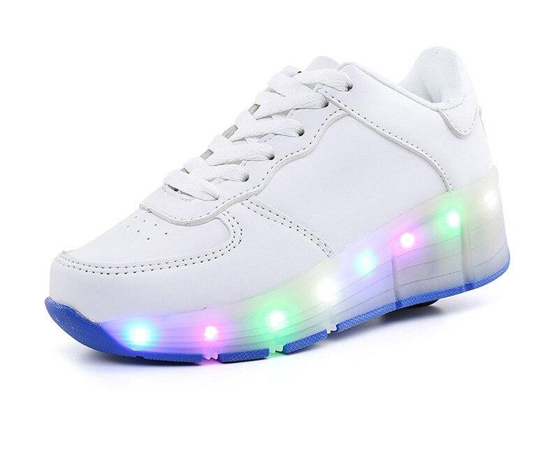 Single Wheel Glowing Boys Girls Roller Skates Sneakers LED Light Shoes Little Kids/Big Kids Flashing Board 30-39 PU leather   <br>