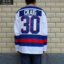 MeiLunNa Christmas Black Friday 1980 Miracle On Ice Team USA #30 Jim Craig White Hockey Jersey 3002