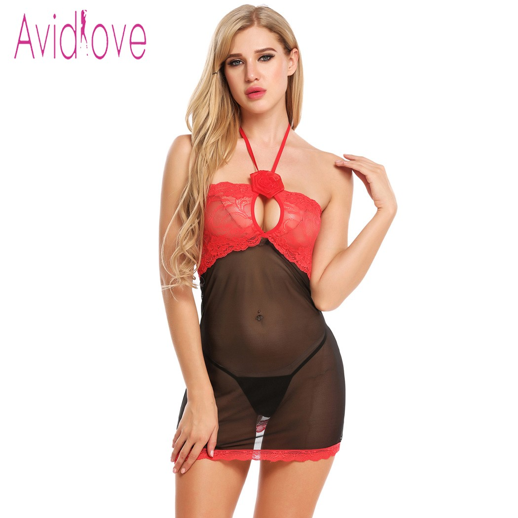 Avidlove Lace Lingerie Sexy Hot Erotic Underwear Women Transparent Mini Babydoll Dress Nightwear Langeri Negligee Sex Costume