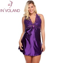 IN'VOLAND Plus Size Women's Sexy Sleep Nightgowns 5XL Lingerie Babydoll Satin Chemise Large Dress Sleepshirts Home Sleepwear(China)