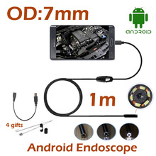 10pcs/lot Android USB Endoscope Camera 7MM OD Lens 1M HD720P Waterproof Borescope Camera Repair tools Camera OTG USB Camera(China)