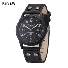 Superior New Vintage Classic Men's Waterproof Date Leather Strap Sport Quartz Army Watch June 27