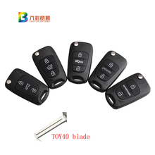 Car Key Shell Replacement 3 Buttons Kia  Rio Picanto Sportage K2 K5 Flip Remote Key Case Blank Cover TOY40 blade with KiA LOGO
