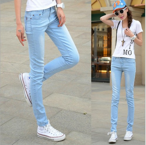 2017 summer Hot sale  light blue color cotton stretch tight bound feet pencil jeans women zipper fly sking jeans D16Одежда и ак�е��уары<br><br><br>Aliexpress