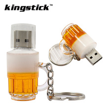 Kingstick mini usb flash drives 4gb 8gb 16gb 32GB small bulk cheap Beer Cup Bottle Pendrive 64GB USB Memory Stick Pen drive(China)