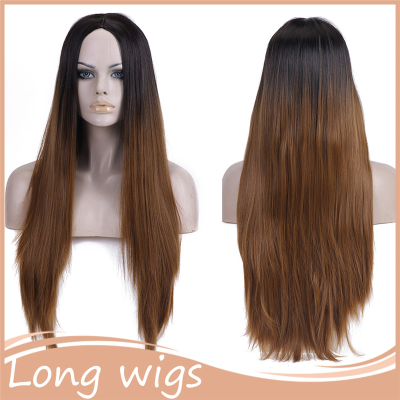 1PC Synthetic Ombre Wigs Long Natural U Part Wig None Lace Wigs Straight None Lace Hair Wigs Ombre for women<br><br>Aliexpress