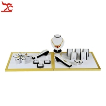 Stainless Steel Jewelry Display Counter Showcase Black White Ring Bracelet Organizer Necklace Pendant Stand Kit 105*38*26cm