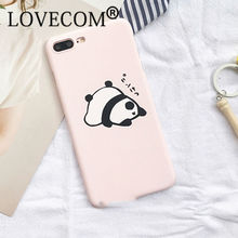 Cartoon Cute Pink Panda Frosted Hard PC Phone Case For iPhone 7 For iPhone 5 5S SE 6 6S 7 Plus Phone Back Cover Coque YC2144(China)