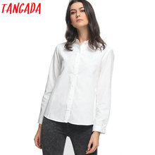 Tangada Women fashion Spring elegant swan embroidery white blouses vintage long sleeve shirt work wear casual slim tops Office