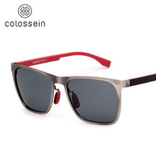 COLOSSEIN Orange Label Classic Fashion Men Sunglasses Metal Square Frame Polarized Lenses Gray and Blue New Style Men Glasses(China)