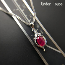 TBJ,Mozambique natural ruby oval cut 5*7 ard 0.75ct per pc pendant setted in 925 sterling silver with chains for women with box(China)