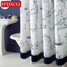 Mediterranean Polyester Sailboat Shower Curtain Waterproof Mildew Thicken Home Bathroom Curtain Custom Made(China)