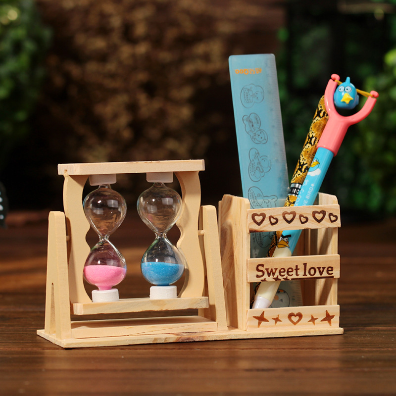 Diy 2 Hourglass Wood Crafts Antique Style With Pen Holders& Saat Sand Clock Home Decoration Accessories miniaturas Figurine(China)