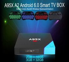 New Arrivals A95X A2 Android TV Box Amlogic S912 Octa Core Android 6.0 4K Smart TV Box Max 3G 32G Dual Band Wifi Media Player(China)