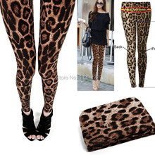 Wholesale Price, Womens Wild Sexy Brown Leopard Leggings Cropped Funk Rock Slim Pencil Pants