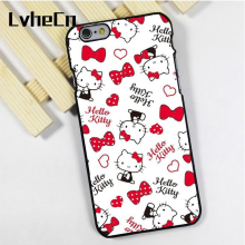 LvheCn phone case cover fit for iPhone 4 4s 5 5s 5c SE 6 6s 7 8 plus X ipod touch 4 5 6 Hello Kitty Pattern Love Hearts(China)