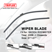 "Wiper Blade for SKODA ROOMSTER (2006-Onwards) 1set 21""+21"",Flat Aero Beam Windscreen Wipers Frameless Windshield Soft Blades(China)"