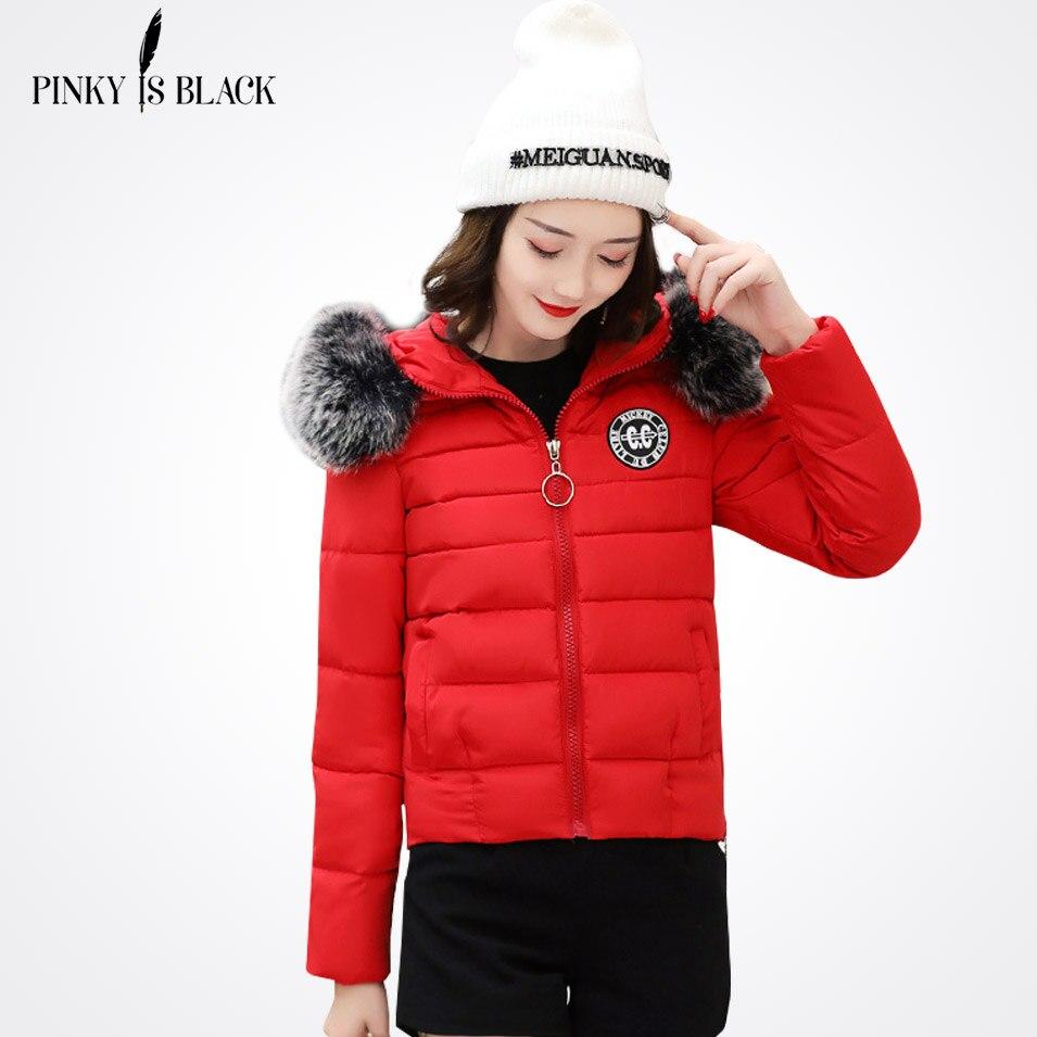 New Arrival 2017 Pinky Is Black Winter Jacket Women Slim Thick Warm Stylish Short Jacket Coats Lady With Fur Hooded High QualityÎäåæäà è àêñåññóàðû<br><br>