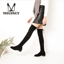 2017 Hot Faux Suede Slim Boots Women Thigh High Boots Sexy Over The Knee Motorcycle Boots Fashion Winter Snow Boots Shoes Woman(China)