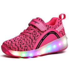 Girls Boys Shoes Sneakers with Wheels Jazzy Junior Child LED Light Roller Skate Shoes Kid glowing Sneakers Zapatillas Con Ruedas(China)