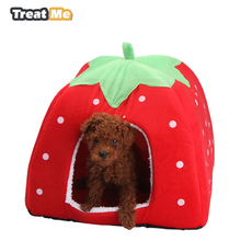 Treat Me,Fashion Soft Dog House,Strawberry Shape,Lovely Kennel,Warm,Portable,Corduroy Cute Cat bed,Nest For Small Medium Pets(China)