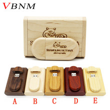 VBNM (over 10PCS free LOGO) Laser Engraving wooden+Box pen drive  8GB 16GB 32GB usb Flash Drive pendrive U disk Memory stick
