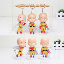 "4"" 10cm Anime Cute ONE PUNCH MAN Saitama Sensei PVC Figures Collectible Toys Cute Keychain Pendants 3pcs/set"