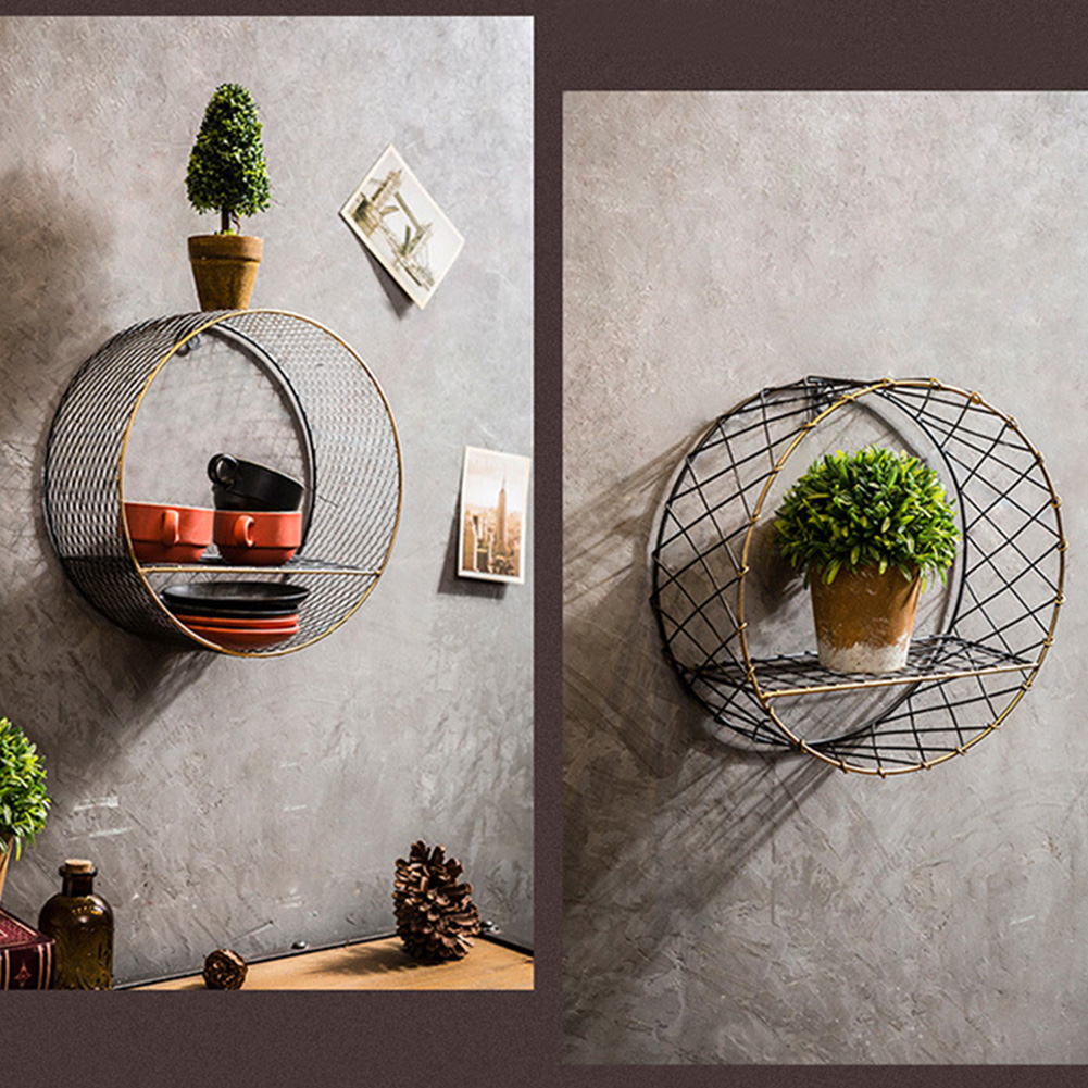 3 Sizes Retro Wall-Mounted Metal Rack Circular Mesh Iron Shelf Industrial Style Round Shelf Office Sundries Organizer Home Decor 15