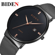 Simple stainless steel black quartz watches for mens luxury diamond calendar waterproof male clocks top brand original man watch(China)