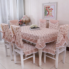 Countyside small fresh Cotton floral printing tablecloth set suit 130*180cm table cloth matching chair cover 1 set price 3 color