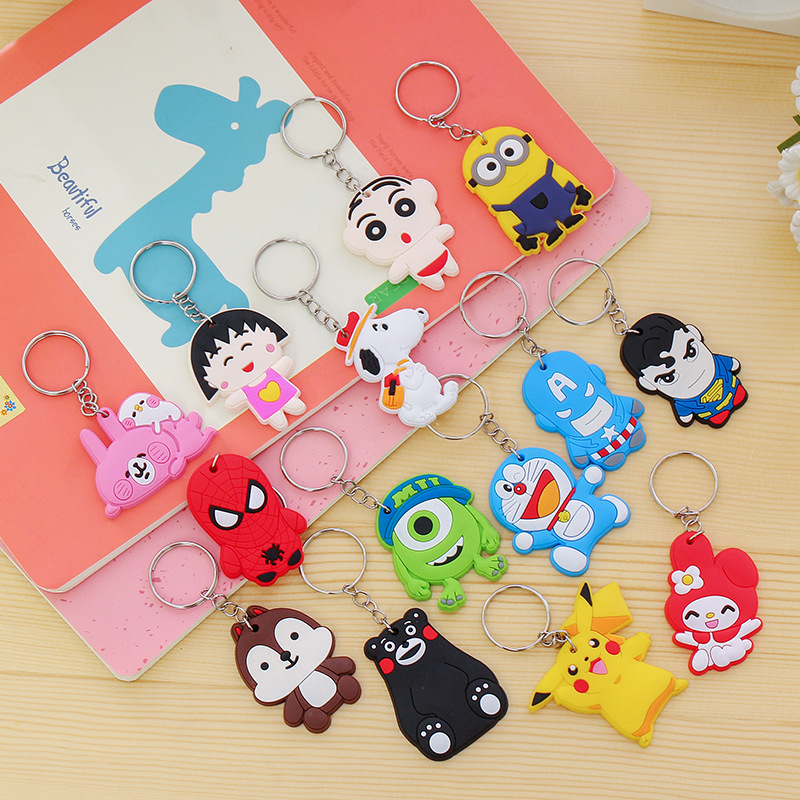 1PCS-Lovely-Animal-Cartoon-The-Avengers-Hello-Kitty-Silicone-Key-ring-Keychain-Backpack-Accessories-Key-chains