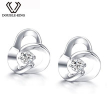 DOUBLE-RING 18K Flower Design Diamond Earring White Gold 0.08ct Real Diamond Earrings Women Earrings Fine Jewelry CAE00610A(China)