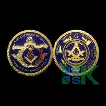 DHL Shipping Wholesale 100pcs/set Masonic Challenge Coin A Brotherhood of Man Freemasonry Blue Enamel Gold Plated Coin
