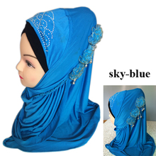 Free Shipping, muslim Hijab,Islamic Hijab with three flowers,arabic scarf,muslim scarf,Mixed colors,fast delivery
