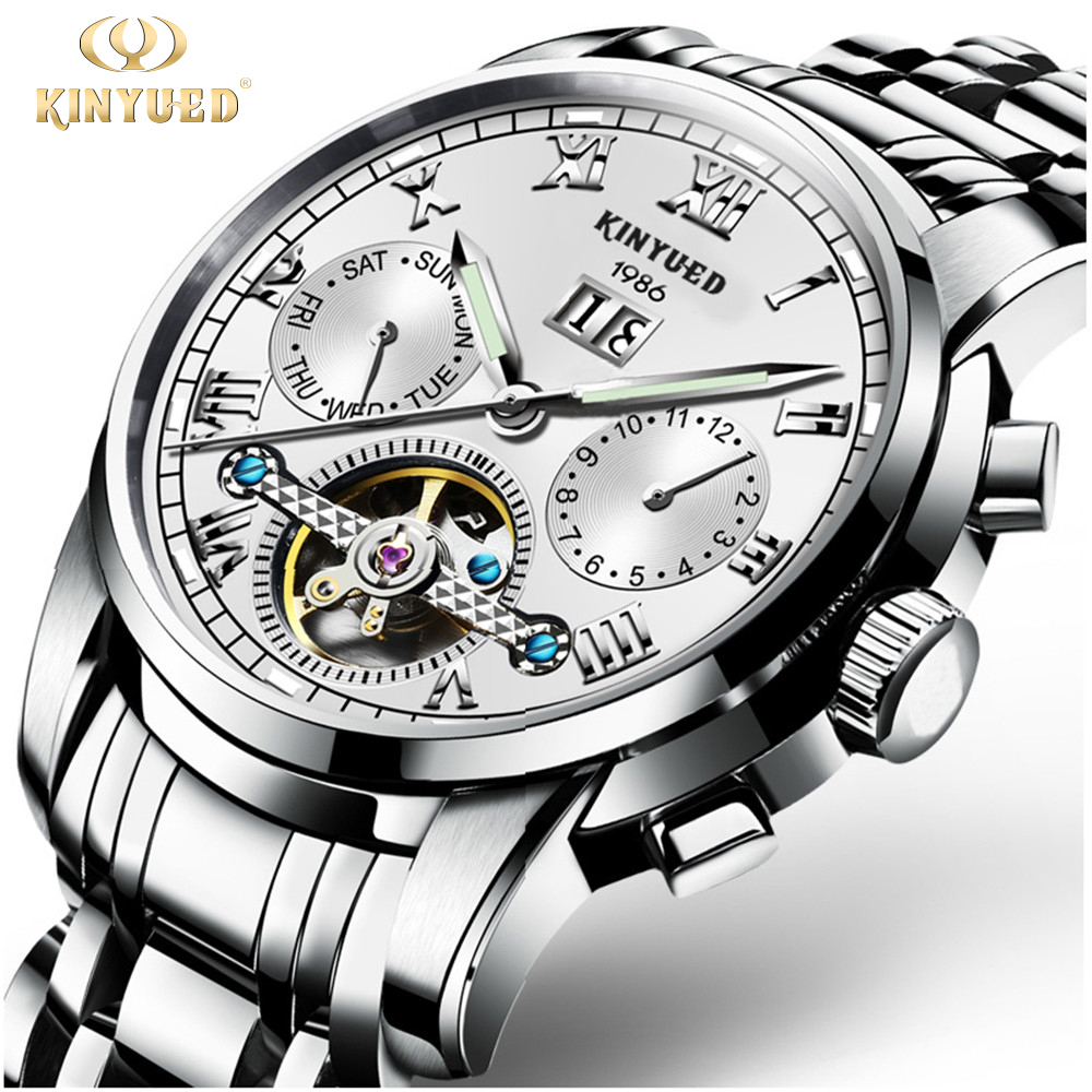 2017 Kinyued Skeleton Tourbillon Mechanical Watch Stainless Steel strap Luminous Waterproof Automatic Mechanical watch Top Brand<br>