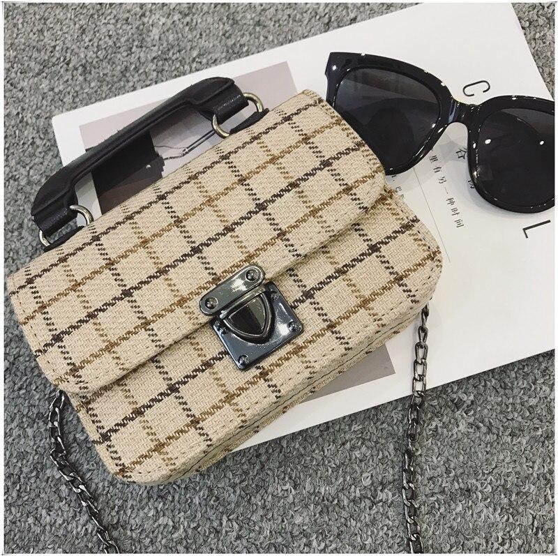 HAOQING New Fashion bags for women PU leather Chain bag luxury designer crossbody bag ladies purse female Casual Cute plaid bag