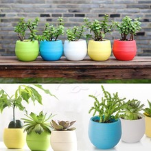 Colourful Mini Flower Pot for succulent plants Round Plastic Plant Flower Pot Garden Home Office Decor Planter #K400Y#